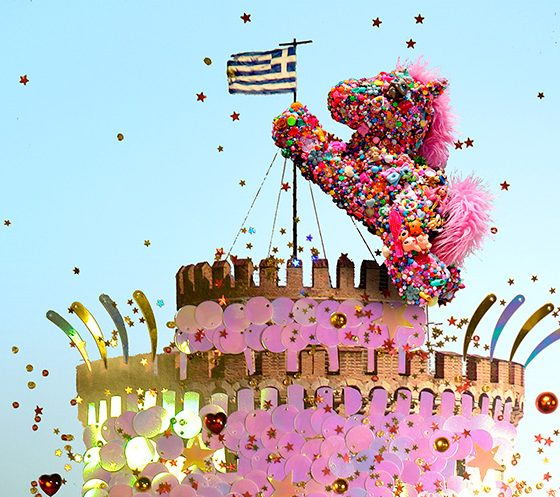 Pony kong takes over the pink sequins tower